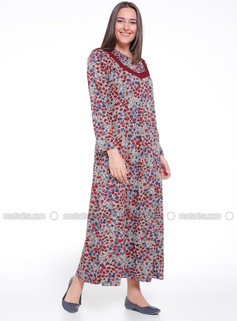 Maroon - Multi - Unlined - V neck Collar - Plus Size Dress