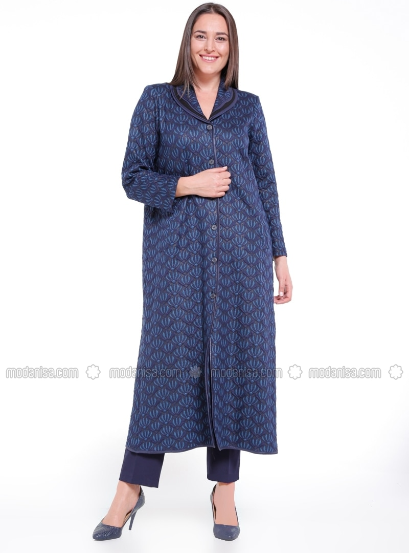Unlined - Multi - Navy Blue - Blue - Shawl Collar - Plus Size Coat