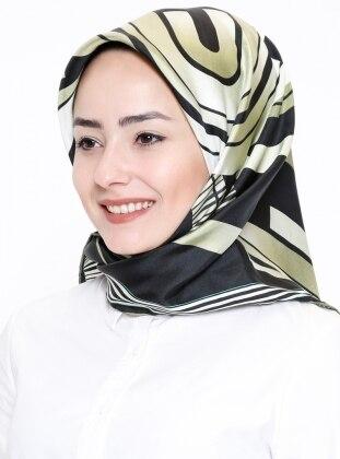 Black - Khaki - Printed - Twill - %100 Silk - Scarf