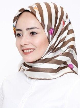 %100 Silk – Twill – Printed – Khaki – Beige – Scarf – Akel