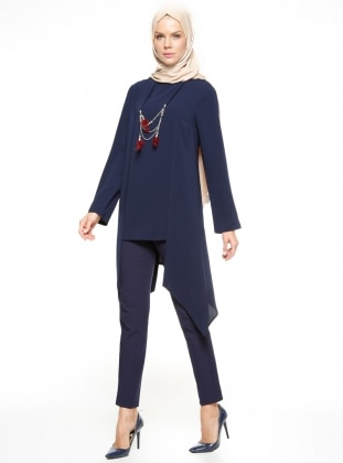 Navy Blue - Crew neck - Tunic - Esswaap 346580