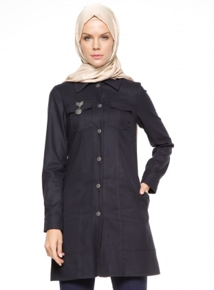 Navy Blue - Point Collar - Tunic - Esswaap 346584