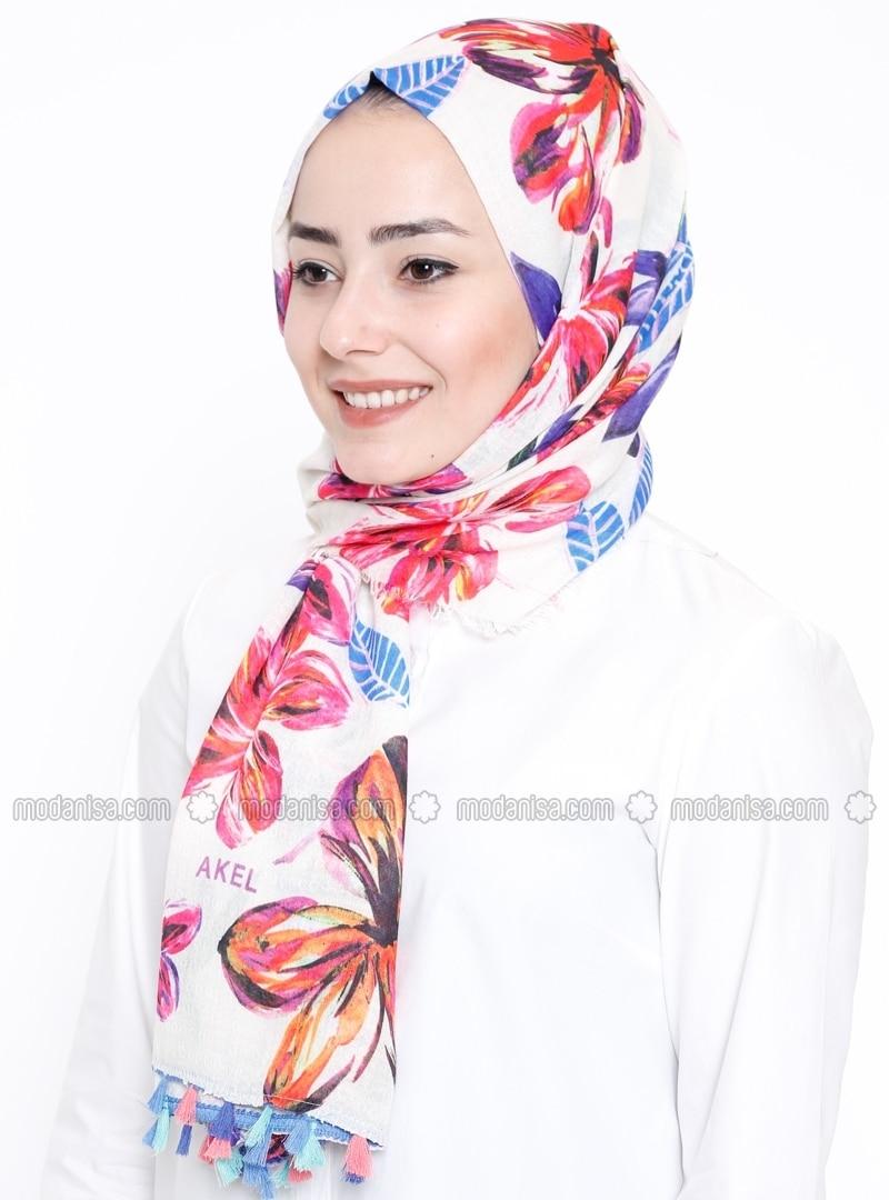 Ecru - Floral - Printed - Fringe - Shawl