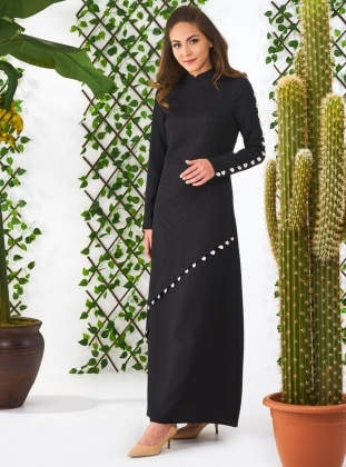Black - Crew neck - Fully Lined - Dresses - Minel Ask 346760