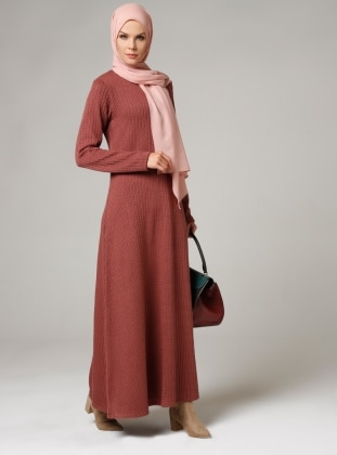 Maroon - Crew neck - Unlined - Dresses