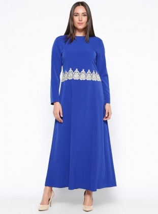 Saxe - Fully Lined - Crew neck - Muslim Plus Size Evening Dress