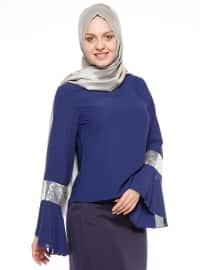 Navy Blue - Silver tone - Crew neck - Blouses