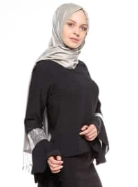 Pul Payet Detaylı Bluz - Siyah Gümüş - Tuncay