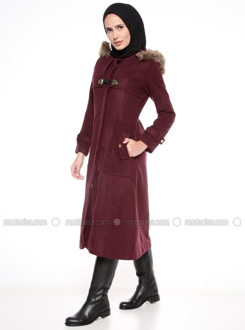 Purple - Fully Lined - Polo neck - Coat