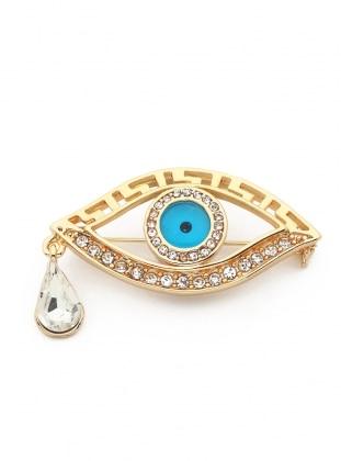 Modex Altın Kaplama Taşlı Göz Broş - Altın
