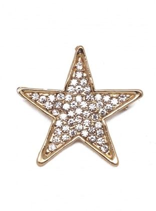 Modex Taşlı Yıldız Broş - Karışık Renkli
