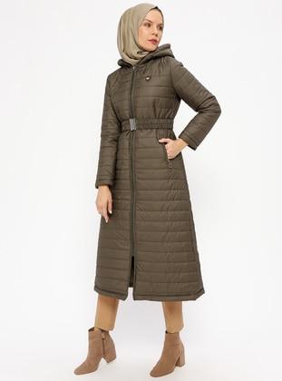 Khaki - Fully Lined - Coat - Miss Cazibe