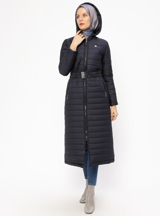 Navy Blue - Fully Lined - Coat - Miss Cazibe