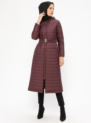 Purple - Fully Lined - Coat - Miss Cazibe