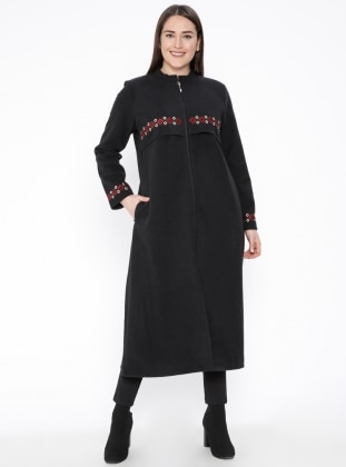 Black - Unlined - Crew neck - Plus Size Overcoat - Tavin