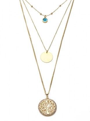 Blue - Gold - Necklace - Modex