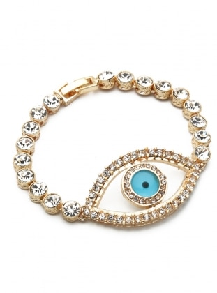 Modex Swarovski Taşlı Göz Bileklik - Altın