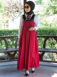 Kolsuz Elbise - Bordo - İnşirah