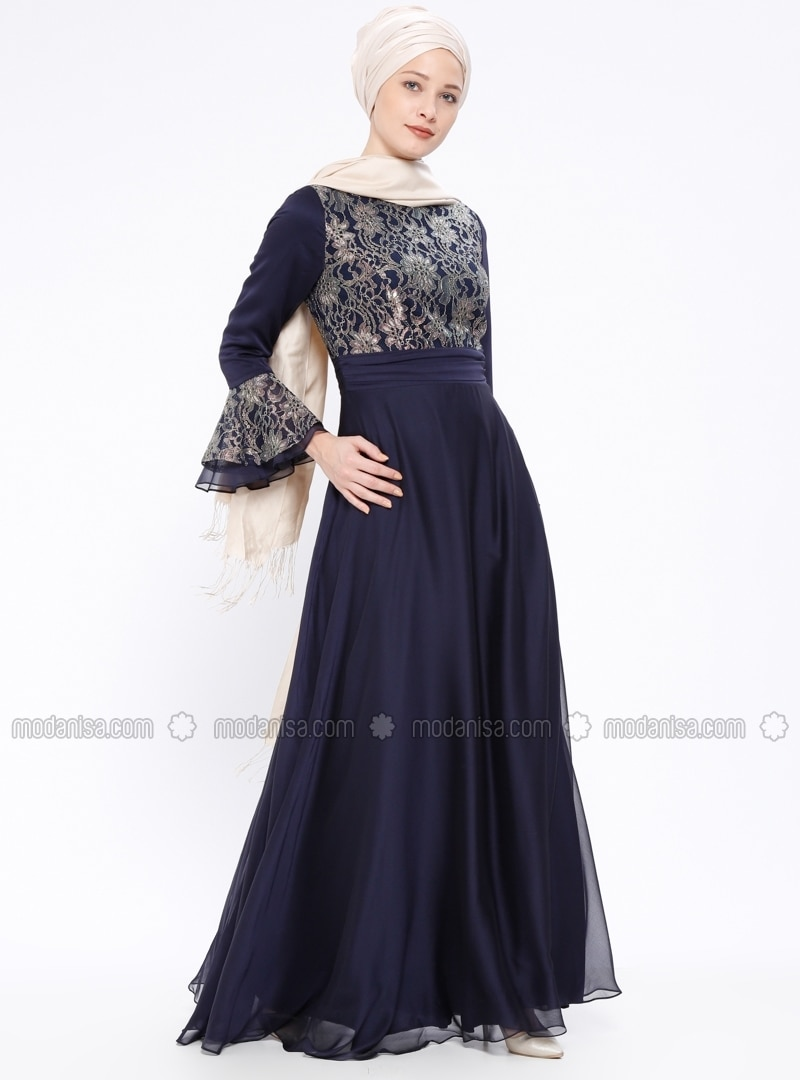 Crew neck - Fully Lined - Navy Blue - Muslim Evening Dress
