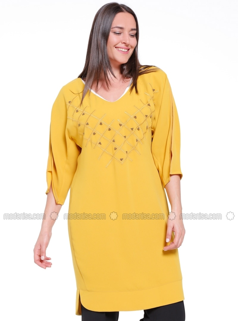54dcf9500ec Yellow - Fully Lined - V neck Collar - Plus Size Tunic