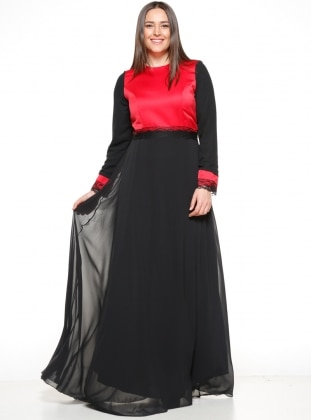 Crew neck - Fully Lined - Black - Red - Muslim Plus Size Evening Dress