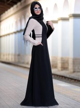 Black - Crew neck - Fully Lined - Dresses -  Tesettür