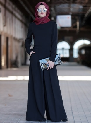 Black - Black - Unlined - Crew neck - Evening Jumpsuits
