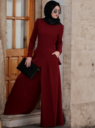 Maroon - Unlined - Crew neck - Jumpsuit -  Tesettür