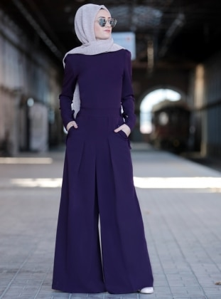 Purple - Unlined - Crew neck - Jumpsuit - Sure Tesettür