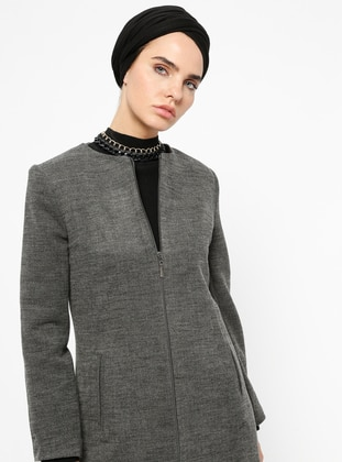 Gray - Fully Lined - Crew neck - Coat - Tesse