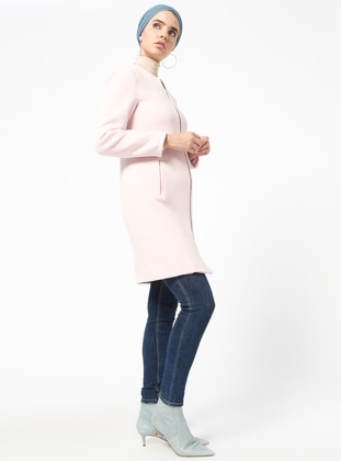Pink - Fully Lined - Crew neck - Coat