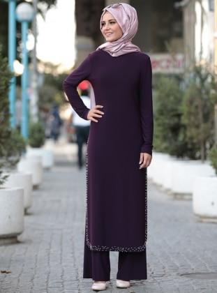 Purple - Unlined - Suit -  Tesettür