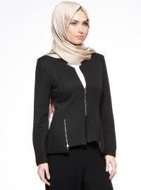 Fermuarlı Ceket - Siyah - Bonema