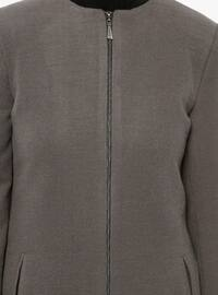 Gray - Fully Lined - Crew neck - Coat