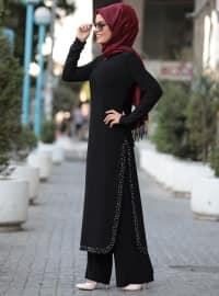Siyah - Astarsız Kumaş - Takım Elbise - Tesettür