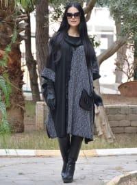 Henna Elısa Püsküllü Panço - Siyah - Henna Elısa