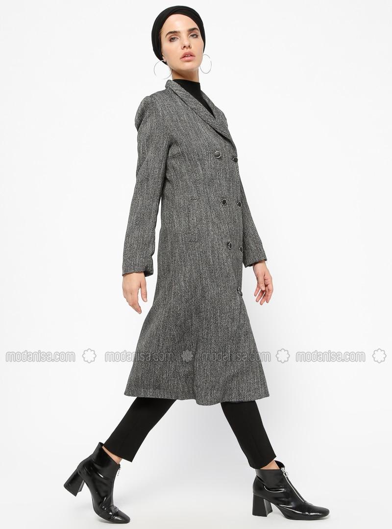 Black - Gray - Fully Lined - Shawl Collar - Coat