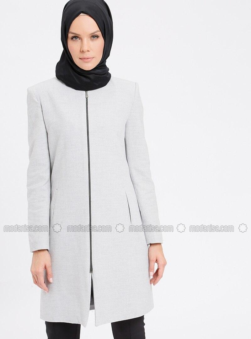 Beige - Fully Lined - Crew neck - Coat