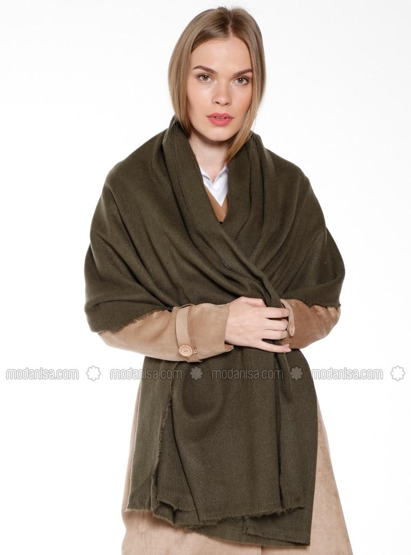 Acrylic - Plain - Khaki - Shawl Wrap