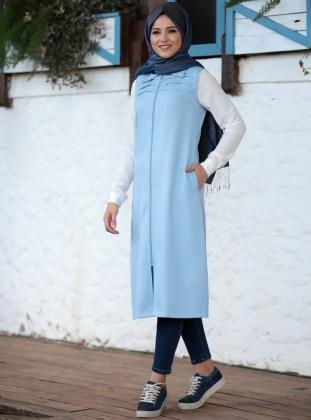 Blue - Unlined - Point Collar - Vest