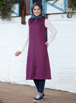 Pink - Unlined - Point Collar - Vest