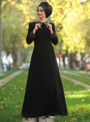 Schwarz - Bubikragen - Ohne Innenfutter - Hijab Kleid - Nurgül Çakır