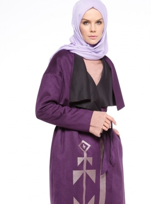 Purple - Unlined - Shawl Collar - Trench Coat
