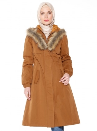 Tan - Fully Lined - Coat - Loreen By Puane