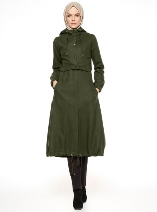 Khaki - Fully Lined - Crew neck - Coat