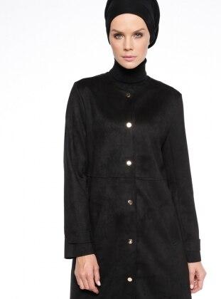 Black - Unlined - Crew neck - Trench Coat