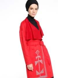 Baskılı Süet Trençkot - Kırmızı - Fashion Box London
