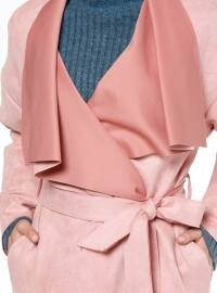 Pink - Unlined - Shawl Collar - Coat