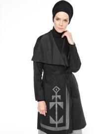 Baskılı Süet Trençkot - Siyah - Fashion Box London