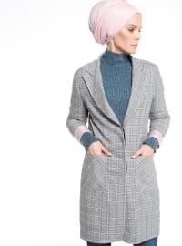 Çizgili Uzun Ceket - Gri - Fashion Box London